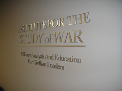 Institute for The Study of War Steel Lobby Sign