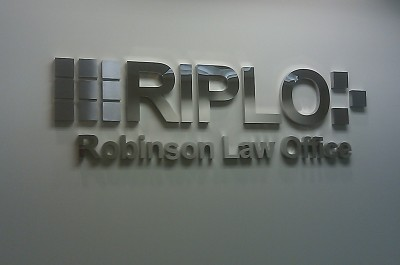 RIPLO Brushed & Polished Steel Sign